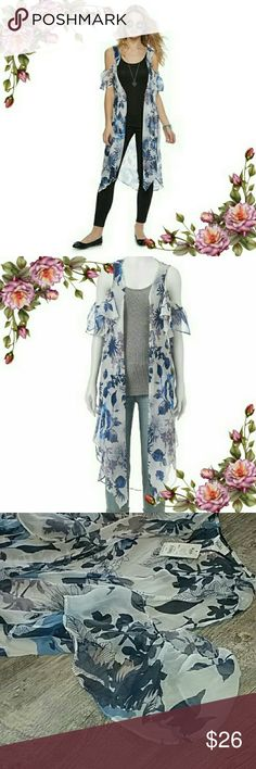 Floral cold shoulder kimono. Offers are welcome Add a trendy touch to your look with the cold-shoulder styling. PRODUCT FEATURES : floral design; cold-shoulder; styling; semi-sheer fabric. Different color print of this item available in separate listing in my closet. Check it out ;) Mudd Tops