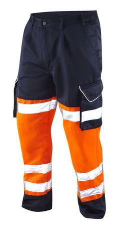 Leo Hi Vis Reflective Safety PPE Cargo Trousers Large size Polycotton Orange/Blue 42-54 Long, Regular, Short Leg