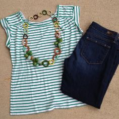 """Selling this """"NEW LISTINGGarnet Hill Kelly green striped tee"""" in my Poshmark closet! My username is: kmadeoy. #shopmycloset #poshmark #fashion #shopping #style #forsale #garnet hill #Tops"""