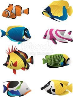 A colorful assortment of tropical fish illustrated in vector format.