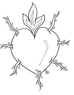 Dibujo para colorear. Corazón de #María Dolorosa. www.evangelizacioncatolica.org