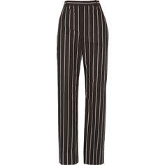 Balenciaga Striped cotton-poplin straight-leg pants (20,030 DOP) ❤ liked on Polyvore featuring pants, bottoms, trousers, jeans, balenciaga, black, striped trousers, straight leg trousers, stripe pants and balenciaga pants