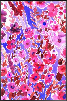Isla Floral Purple as Poster in Standard Frame by Amy Sia | JUNIQE