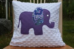 Purple and Paisley Elephant Pillow by nest2impress on Etsy