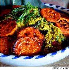 Caramelized Sweet Potatoes with Quinoa and Greens