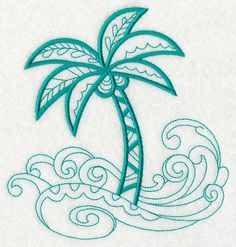 Doodle Palm Tree and Waves design (M2859) from www.Emblibrary.com