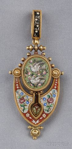 Antique Micromosaic Pendant/Brooch, depicting doves and various floral motifs within ropework frames, 14kt gold mount, suspended from a removable 18kt gold bail, lg. 2 5/8 in.
