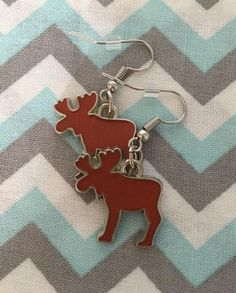 Enamel Red MOOSE Earrings Fish Hook Dangle Earring Girl Teen | Etsy Fish Hook Earrings, Girls Earrings, Dangle Earrings, Unisex Gifts, Antlers, Happy Shopping, Moose, Jewerly, Handmade Items