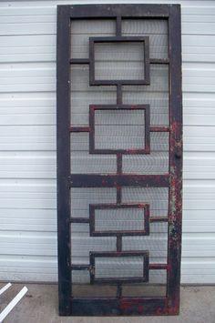 Vintage Wooden Screen Door with Geometric Design and Old Paint x Front Door With Screen, Wooden Screen Door, Wooden Main Door Design, Iron Garden Gates, Garden Doors, Cool Doors, Front Door Colors, Door Accessories, Doors