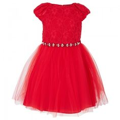 David Charles Girls Red Lace and Tulle Dress | AlexandAlexa