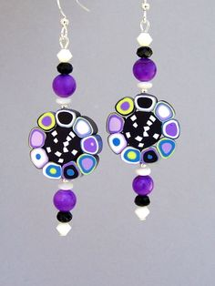 Purple polymer clay earrings Op Art glass crystal mod by Mindielee, $21.00