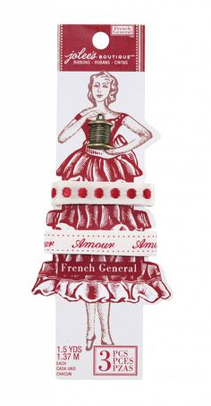 """""""French General"""" ribbon card by Jolee's Boutique. This line was announced at CHA-W 2012...haven't seen it in stores? It's adorable!"""