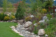Dry Creekbed with rock landscaping...this works for our drainage ditch situation.