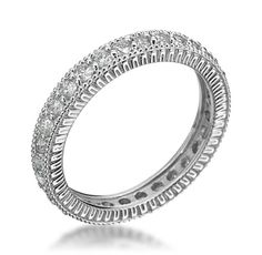 18K White Gold 3mm Pave Eternity Band
