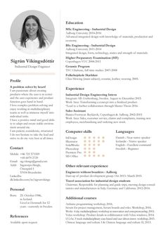 Cv, personal profile and project examples