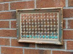 DIY ombre penny art brick wall