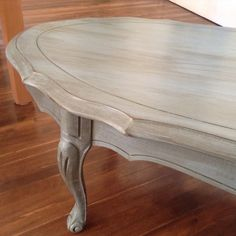 French provincial coffee table painted blue- grey chalk paint.