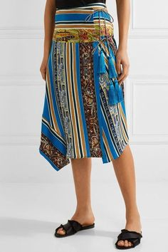 Etro - Asymmetric Printed Silk-faille Wrap Skirt - Blue - IT42