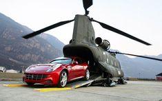 Ferrari on the back of a helicopter #Ferrari #helicopter #luxury #billionaire #allthingsnice