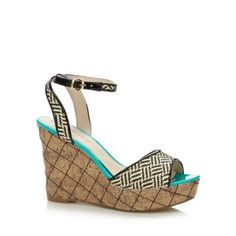 These stylish sandals from Red Herring have a high cork wedge heel with diamond top stitching and patent weave straps. They are open toed with bright turquoise trims and have a gold buckle fastening to the ankle. Diamond Tops, Stylish Sandals, Red Herring, High Wedges, Debenhams, Top Stitching, Wedge Sandals, Me Too Shoes, Fashion Shoes