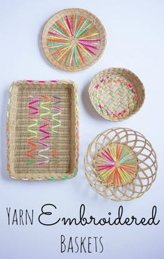 Decorate Baskets with Yarn