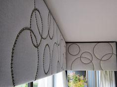 White linen cornices with silver nailhead trim