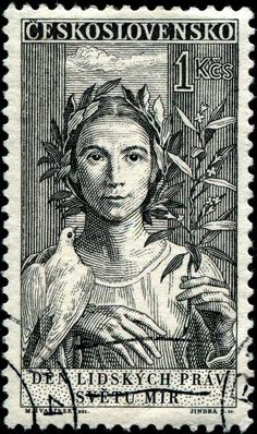 """""""Peace,"""" designed by Czech artist Max Švabinský (1873-1962), engraved by Jindra Schmidt,  as one of a set of three stamps commemorating the 10th anniversary of the signing of the Universal Declaration of Human Rights. Stamp  issued by Czechoslovakia on September 23, 1959"""