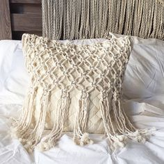 Macrame - Macrame Pillow - Pillows - Throw Pillow -Decorative Pillows - Wedding Gift