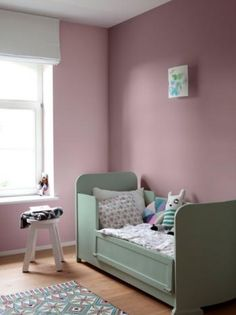 Colora - WE misty rose, WE peachpuff rose en bed in WE green romance uit collectie We are colour, by BOSS paints Pink Bedroom For Girls, Kids Bedroom, Bedroom Decor, Nursery Room, Baby Room, Nursery Ideas, Green Kids Rooms, Rainbow Room, Bedroom Color Schemes