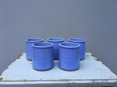 Set of five ceramic blue pots by UrbanJelly on Etsy