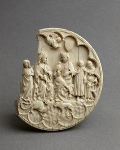 Valve de Miroir dite de L'assemblée Gothic Mirror, Meerschaum Pipe, Sculptures, Lion Sculpture, French Mirror, Renaissance, Bone Carving, 14th Century, Christian Art