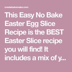 This Easy No Bake Easter Egg Slice Recipe is the BEST Easter Slice recipe you will find! It includes a mix of your favourite Easter Eggs and both regular and Thermomix instructions are included. Chocolate Slice, Chocolate Coating, Easter Chocolate, Delicious Chocolate, Melting Chocolate, No Bake Slices, Egg Cupcakes, Easy Easter Desserts, Thermomix