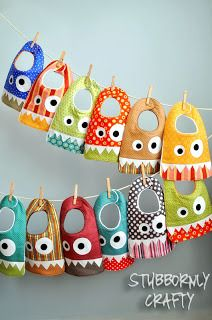 Monster Bib {Pattern & Tutorial} - Stubbornly Crafty. These are so cute! I may have a cute monster theme going I I have a little boy some day. :)