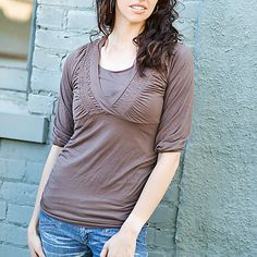 Annalisa nursing top in Mocha.  So comfortable and flattering during and after pregnancy! #NURSING