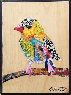 Bird on Twig - Torn paper collage on flat wood panel by artist Karla Schuster Collage Kunst, Paper Collage Art, Collage Art Mixed Media, Vogel Quilt, Bird Quilt, Animal Quilts, Landscape Quilts, Applique Quilts, Art Plastique