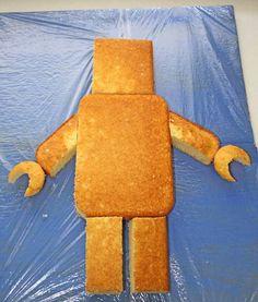 Lego Man or Robot cake. I've already done a robot cake, but I'm sure Ryan would love a lego man cake! Ninjago Party, Lego Birthday Party, Boy Birthday, Birthday Desserts, Cake Birthday, Birthday Ideas, Batman Birthday, Birthday Decorations, Lego Man Cake
