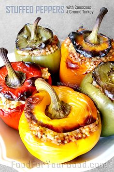 Stuffed Peppers with Couscous & Ground Turkey | FoodForYourGood.com #stuffed_peppers #bell_peppers #couscous #ground_turkey