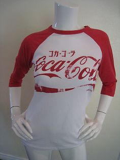 Coca Cola Vintage Look Japan Coke T-Shirt Baseball Tee Shirt sz M Juniors NWT