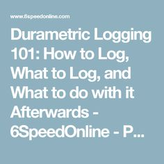 Durametric Logging 101: How to Log, What to Log, and What to do with it Afterwards - 6SpeedOnline - Porsche Forum and Luxury Car Resource