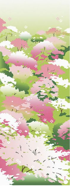 Japanese Tenugui cotton towel fabric. Botanical / wild cherry blossoms design on green. High quality tenugui fabrics made of soft 100% cotton