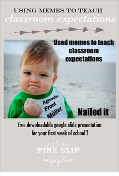 Using memes to teach classroom expectations / rules and free downloadable google slide presentation ready to manipulate