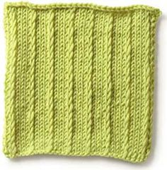 Stitch Gallery - Simple Slip Stitch - Patons Yarn  In the round: Row 1 *sl 1, k3; rep from *.  Row 2 Knit.