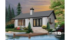 Discover the plan 2923 - Hideaway from the Drummond House Plans house collection. Simple small tiny cabin house plans with open concept, sleep easily 8 people. Total living area of 874 sqft. House Plans And More, Small House Plans, Small House Kits, Micro House Plans, Cabin Homes, Cottage Homes, Maine Cottage, Lake Homes, Cottage Plan