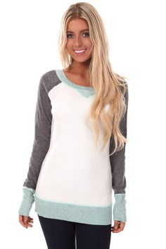 Lime Lush Boutique - Powder Blue Round Neck Long Sleeve Sweater with Contrast Trim and Sleeves, $39.99 (http://www.limelush.com/powder-blue-round-neck-long-sleeve-sweater-with-contrast-trim-and-sleeves/)