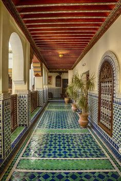 Ornate and Colorful Hallway-Brenda Tharp-Framed Photographic Print Islamic Architecture, Futuristic Architecture, Architecture Design, Morrocan Architecture, Spanish Architecture, Moroccan Design, Moroccan Decor, Moroccan Bedroom, Moroccan Style
