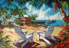 "Original Painting ""Indulge 2006 by Steve Barton Canvas Painting Projects, Cute Canvas Paintings, Seascape Paintings, Beach Mural, Beach Artwork, Garden Mural, Hawaiian Art, Surf, Caribbean Art"