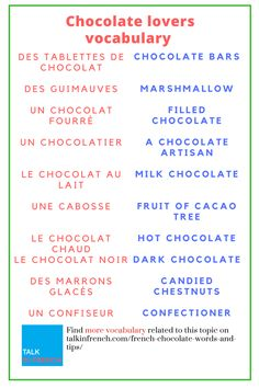 Are you very much fond of Chocolates? Here is a list of chocolate related vocabulary to help you out when you're in France. + download the list in PDF format for free. Get it here: https://www.talkinfrench.com/french-chocolate-words-and-tips/
