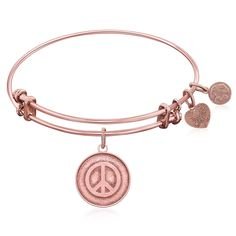Expandable Bangle in Pink Tone Brass with Peace Universal Tranquility Symbol