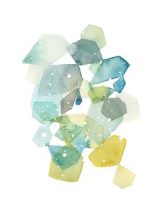 Available in wide variety of sizes.  Hexagon with Dots in Blue Limited Edition Art Print by Yao Cheng | Minted