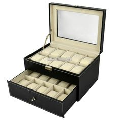 20 Watch Holder Leather Box Glass Display Jewelry Storage Case. I want this in brown.